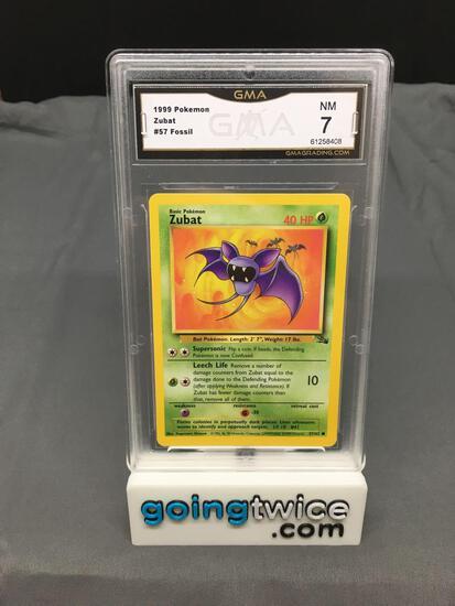 GMA Graded 1999 Pokemon Fossil #57 ZUBAT Trading Card - NM 7