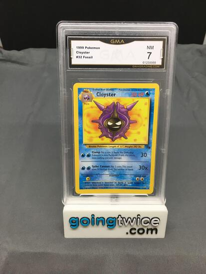 GMA Graded 1999 Pokemon Fossil #32 CLOYSTER Trading Card - NM 7