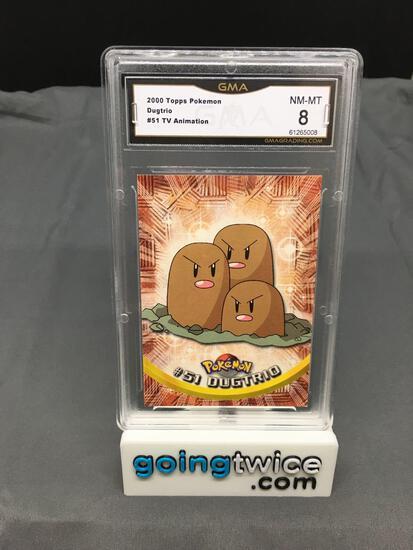 GMA Graded 2000 Pokemon Topps TV Animation #51 DUGTRIO Trading Card - NM-MT 8