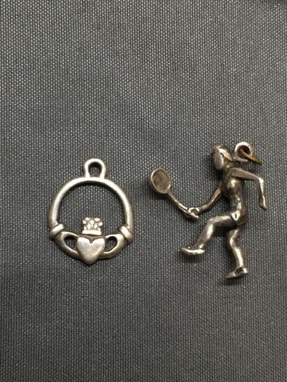 Lot of Two Sterling Silver Charms, One Girl Playing Tennis & Irish Claddagh Themed