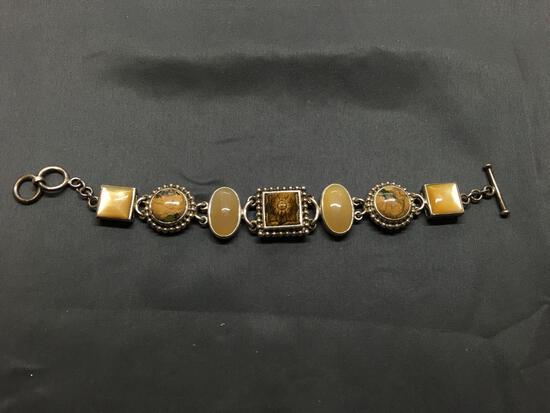 Ornate Design 20mm Wide 7in Long Sterling Silver Link Toggle Bracelet w/ Carved Tiger's Eyer Gem