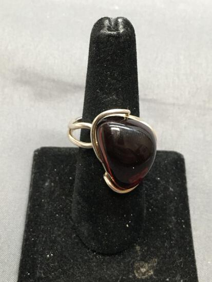 Triangular Shaped 21x15mm Domed Amber Cabochon Center Sterling Silver Handmade Wire-Wrapped Ring