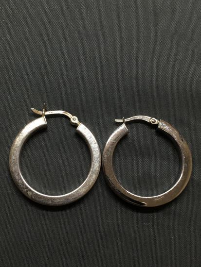 Squared Style 25mm Diameter 3mm Wide Pair of Round Hoop Sterling Silver Earrings