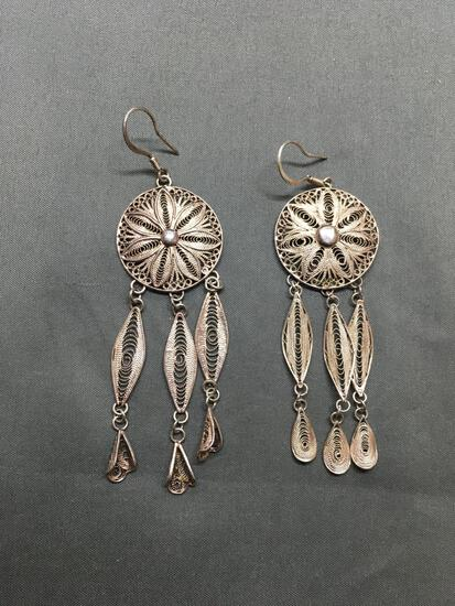 Rope Detailed Filigree Lace Decorated Floral Spiral Patterned Pair of 3in Long 1in Wide Sterling