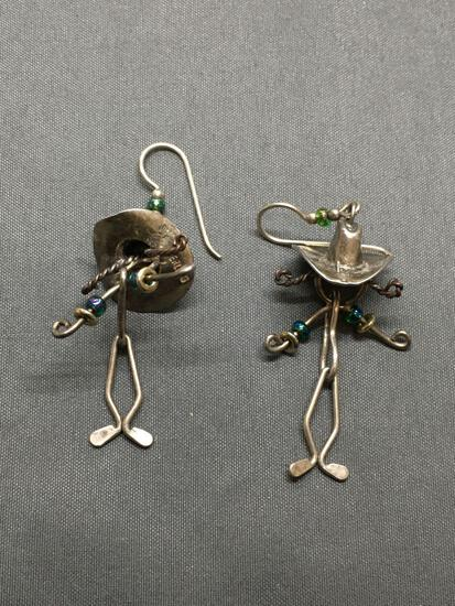 Handmade Beaded 45mm Long Sterling Silver Wire-Wrapped Cowboy Themed Pair of Sterling Silver Dangle