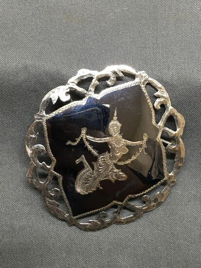 Siam Made Mekhala Buddhist Goddess Decorated Filigree Detailed Round 45mm Oxidized Sterling Silver