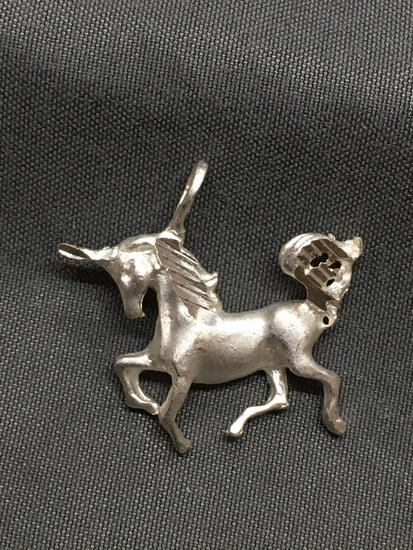 Brush Finish w/ Carving Detail 25mm Wide 20mm Tall Sterling Silver Signed Designer Unicorn Pendant