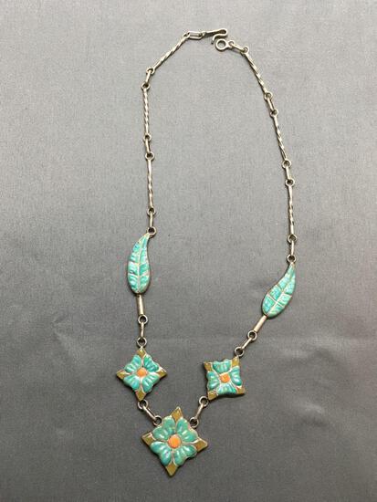 Enameled Flower & Leaf Patterned 16in Long Vintage Signed Designer Sterling Silver Necklace