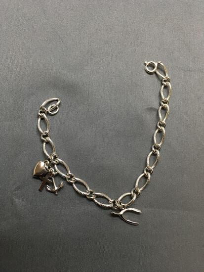Textured & High Polished Curb Link 6.0mm Wide 7in Long Sterling Silver Bracelet w/ Three Charms