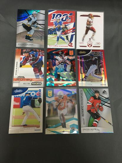 9 Card Lot of SERIAL NUMBERED Sports Cards with STARS and ROOKIES from Massive Collection