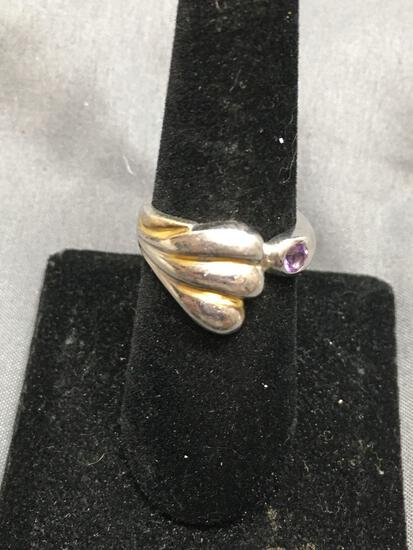 Scallop Wave Detailed 13mm Long Sterling Silver Bypass Ring Band w/ Round Faceted 3mm Amethyst