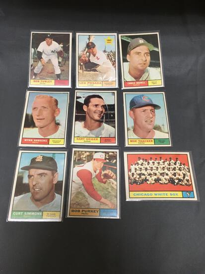 9 Card Lot of 1961 Topps Vintage Baseball Cards from Nice Condition Hoard