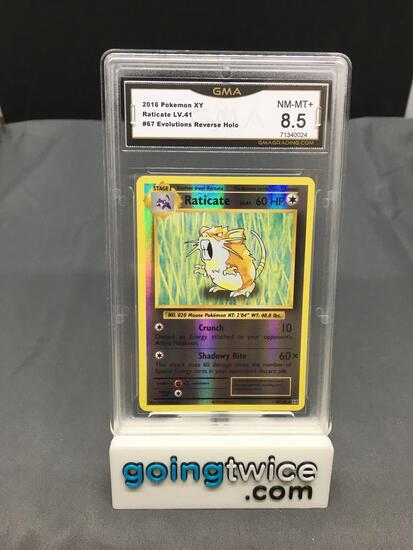 GMA Graded 2016 Pokemon Evolutions #67 RATICATE LV. 41 Reverse Holofoil Rare Trading Card - NM-MT+