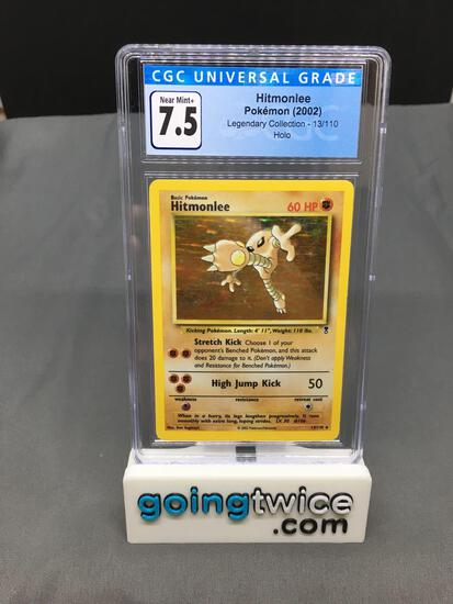 CGC Graded 2002 Pokemon Legendary Collection #13 HITMONLEE Holofoil Rare Trading Card - NM+ 7.5