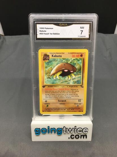 GMA Graded 1999 Pokemon Fossil 1st Edition #50 KABUTO Trading Card - NM 7