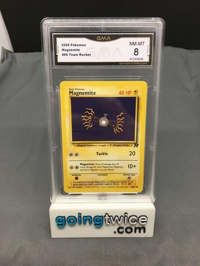 GMA Graded 2000 Pokemon Team Rocket #60 MAGNEMITE Trading Card - NM-MT 8