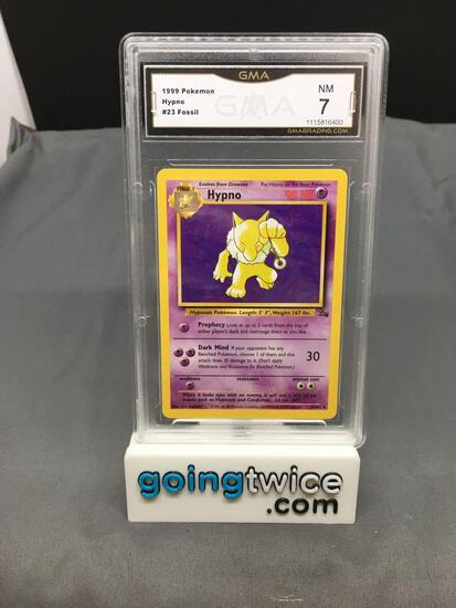 GMA Graded 1999 Pokemon Fossil #23 HYPNO Rare Trading Card - NM 7