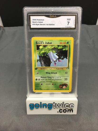 GMA Graded 2000 Pokemon Gym Heroes 1st Edition #74 BROCK'S ZUBAT Trading Card - NM 7