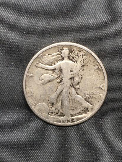 1934 United States Walking Liberty Silver Half Dollar - 90% Silver Coin from Awesome Collection