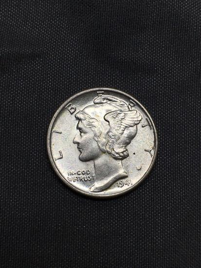 1941 United States Mercury Silver Dime - 90% Silver Coin from Awesome Collection - BU Uncirculated