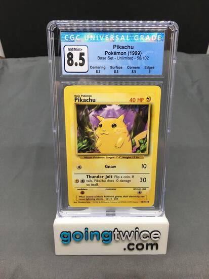 CGC Graded 1999 Pokemon Base Set Unlimited #58 PIKACHU Trading Card - NM-MT+ 8.5 w/ 9 Sub Grade