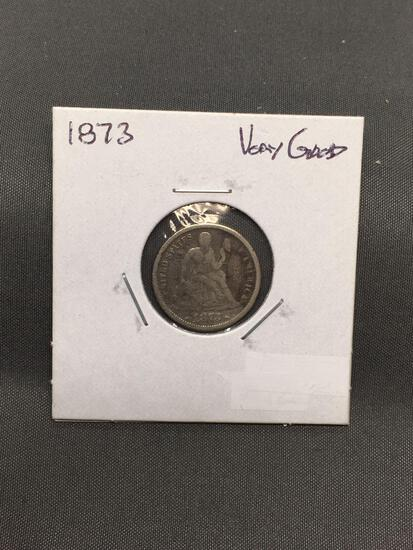 1873 United States Seated Liberty Silver Dime - 90% Silver Coin from ENORMOUS ESTATE