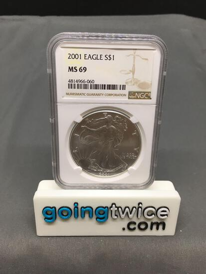 NGC Graded 2001 United States 1 Ounce .999 Fine Silver American Eagle Bullion Coin - MS 69