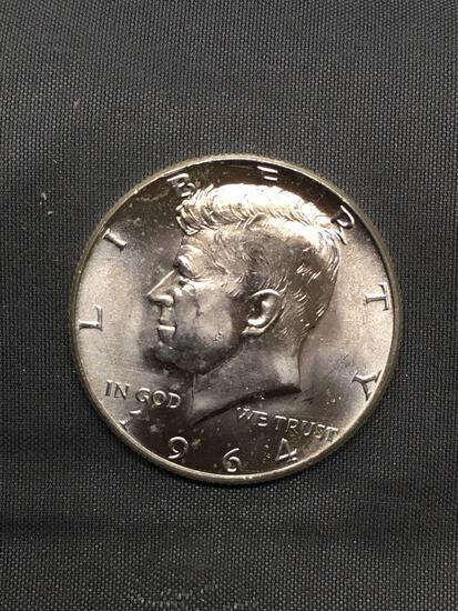 1964-D United States Kennedy Half Dollar - 90% Silver BU UNC Coin