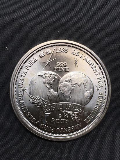 UNC 1985 Argentina World Trade FCCB 1 OZ .999 Fine Silver Bullion Round