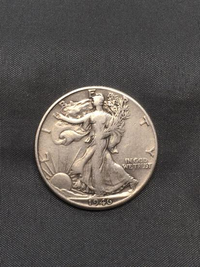 1946-D United States Walking Liberty Silver Half Dollar - 90% Silver Coin from Estate