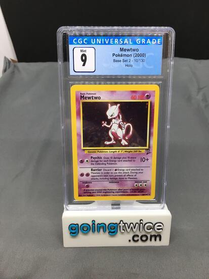 CGC Graded 2000 Pokemon Base 2 Set #10 MEWTWO Holofoil Rare Trading Card - MINT 9