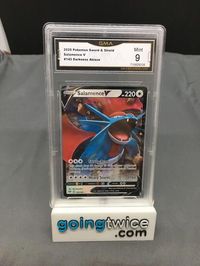GMA Graded 2020 Pokemon Darkness Ablaze #143 SALAMENCE V Holofoil Rare Trading Card - MINT 9