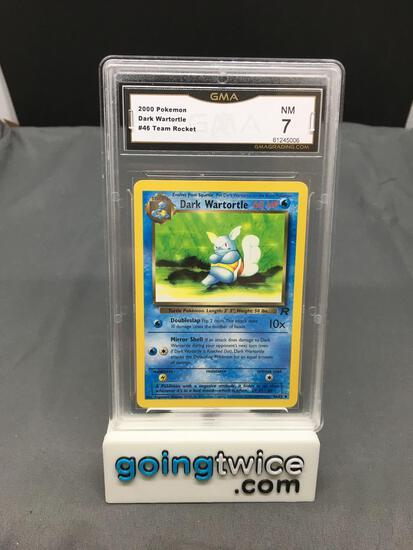 GMA Graded 2000 Pokemon Team Rocket #46 DARK WARTORTLE Trading Card - NM 7