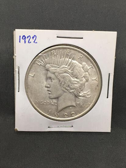 1922 United States Peace Silver Dollar - 90% Silver Coin from Estate