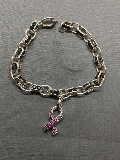 Unique Cable Link 8mm Wide 8in Long Sterling Silver Bracelet w/ Round Black Gem Accents & Pink