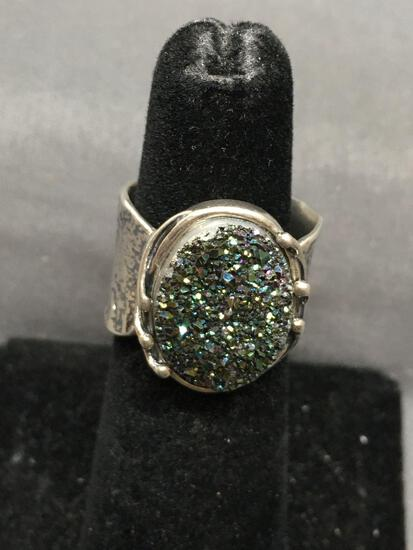 Oval 15x12mm Titanium Druzy Center Handmade Hammer Finished Scallop Edged Sterling Silver Ring Band