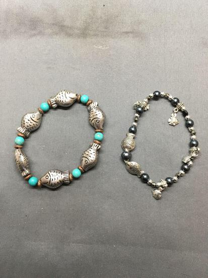 Lot of Two Gemstone Beaded 7in Long Bracelets w/ Fish Themed Spacers, One Smaller w/ Hematite & One