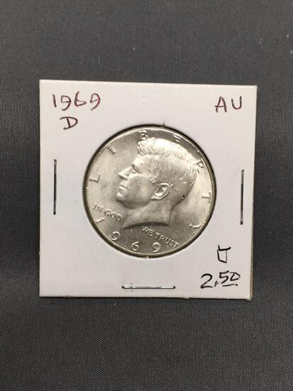 1969-D United States Kennedy Silver Half Dollar - 40% Silver Coin from Estate