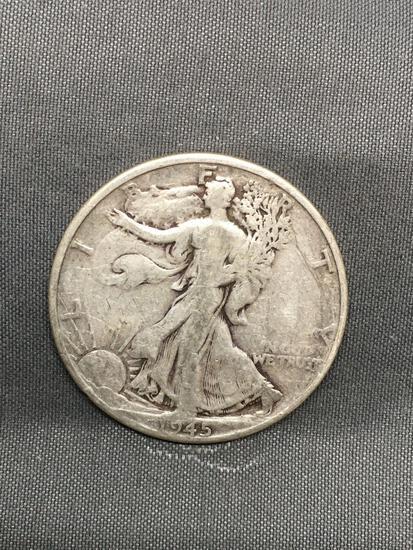 1945 United States Walking Liberty Half Dollar - 90% Silver Coin
