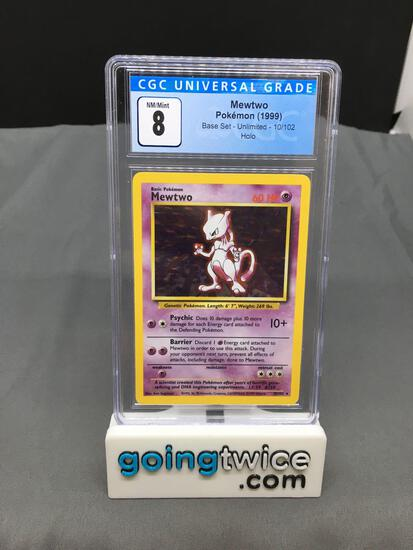 CGC Graded 1999 Pokemon Base Set Unlimited #10 MEWTWO Holofoil Rare Trading Card - NM-MT 8