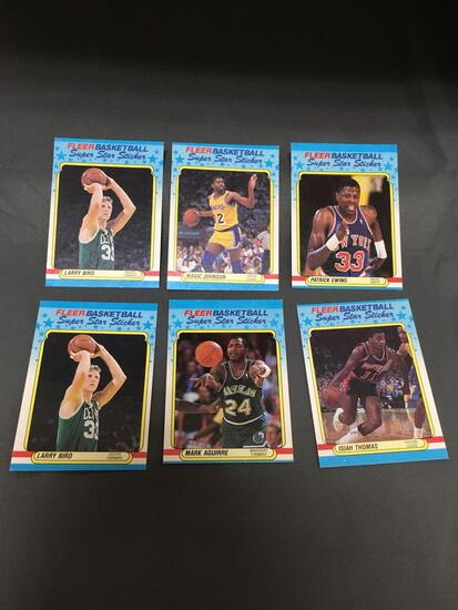 6 Card Lot of 1988-89 Fleer Basketball Stickers with Hall of Famers from HUGE Collection