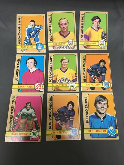 9 Card Lot of 1972-73 Topps Vintage Hockey Cards from Huge Collection