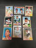 9 Card Lot of 1968 Topps Vintage Baseball Cards from Huge Collection
