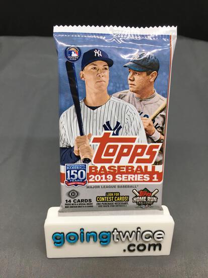 Factory Sealed 2019 Topps SERIES 1 Baseball 14 Card Hobby Pack
