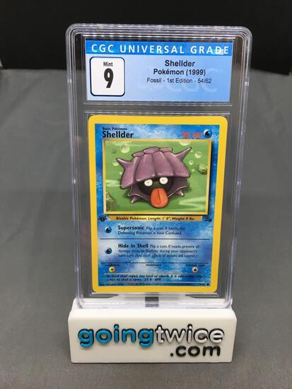 CGC Graded Pokemon Fossil 1st Edition #54 SHELLDER Trading Card - MINT 9
