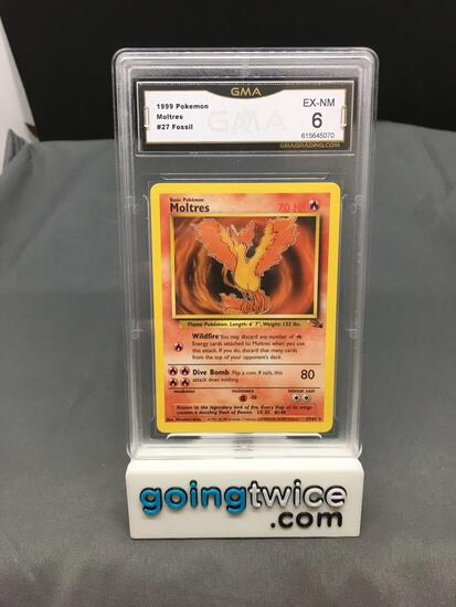 GMA Graded 1999 Pokemon Fossil Unlimited #27 MOLTRES Rare Trading Card - EX-NM 6