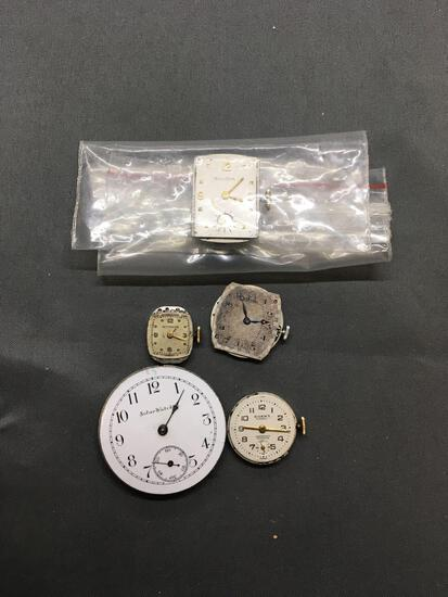 Lot of Five Various Designer, Size & Style Loose Watch Faces, No Housing or Bracelets