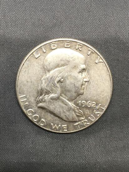 1962-D United States Franklin Silver Half Dollar - 90% Silver Coin from Estate Hoard