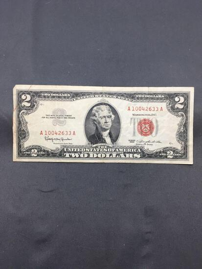 1963 United States Jefferson $2 Red Seal Bill Currency Note from Estate