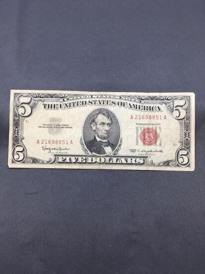 1963 United States Lincoln $5 Red Seal Bill Currency Note from Estate